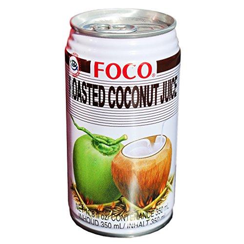 24x350ml Foco Roasted Kokosnuss Nektar 80% Kokossaft mit kleinen gerösteten Kokosstückchen