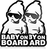 Cute Baby on Board Sticker for Cars, Funny Carlos from The Hangover, Black and White Vinyl Decals (2 Pack)
