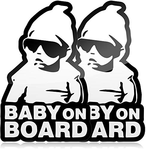 Baby on Board Sticker for Cars, Funny Carlos Babies Style Decal from The Hangover, Black and White Vinyl Decals, Self Adhesive Baby in Car Bumper Stickers
