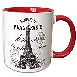 NA Mug_110389_5 Taza 'Nouveau Paris Vintage Torre Eiffel en Dos Tonos Rojo', 11 oz, Rojo/Blanco