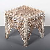 Casa Moro | Tavolino Oriental Side Table Firas 40x40x40 (W/D/H) in legno massello di mango bianco marrone & MDF intagliato a mano in stile Shabby Chic | Tavolino Vintage Sofatisch | IBT30