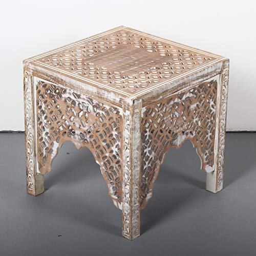 Casa Moro Orientalischer Beistelltisch Firas 40x40x40 (B/T/H) weiß braun aus Massivholz Mango & MDF handgeschnitzt im Shabby Chic Stil | Vintage Sofatisch Couchtisch | IBT30