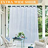 RYB HOME Sheer Curtain for Patio - Extra Wide Outdoor Curtain Water Repellent Filter Glare, White Voile Panels for Porch/Balcony/Gazebo, with 1 Rope Tieback, 100 x 96 inches