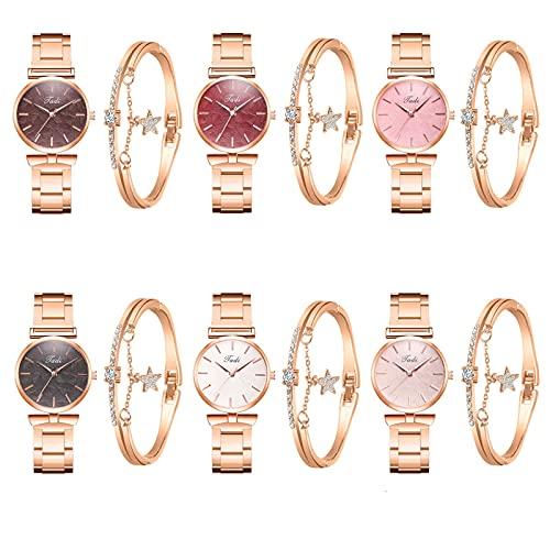 Hingpy Damen Diamant Uhrenset Stahlband Armband Elegante Geometrische Armband Mode Einfache Uhr Damenuhr, Quarzuhr Geschenk Uhrenset