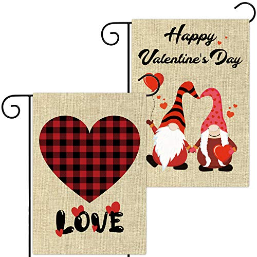 WATINC 2Pcs Happy Valentine's Day Garden Flags Buffalo Check Plaid Love Gnome Decorations Double Sided Burlap Home Decorative Seasonal Decor for Outdoor Yard Valentines Party Supplies 12.4 x 18.2 Inch