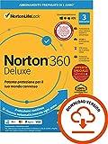 norton 360 deluxe 2021, antivirus per 3 dispositivi, licenza di 1 anno con rinnovo automatico, secure vpn e password manager| 1 anno | pc/mac tablet e smartphone| codice d'attivazione via email