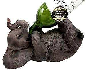 Ebros Kitchen Decor Playful Safari Elephant Wine Bottle Holder Figurine Animal Savanna Oil Wine Valet Storage With Pachyderm Elephant Theme