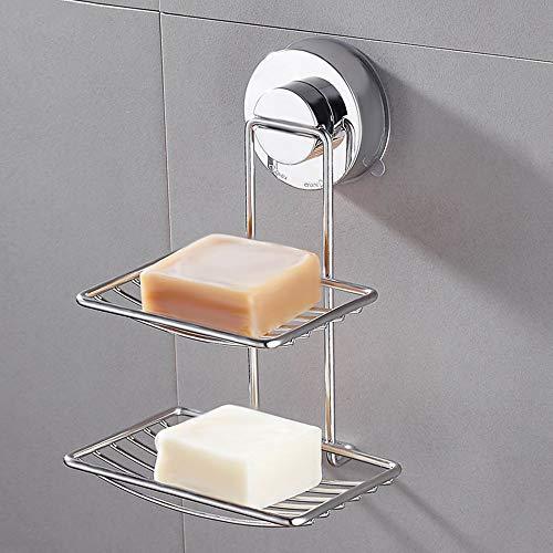 SURFMALL Seifenschale Seifenhalter Saugnapf Doppelt aus Edelstahl für Bad und Dusche