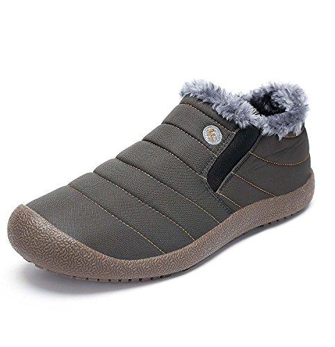 Minetom Unisex-Adulto Uomo Donna Primavera Invernali Pantofole Caldo Scarpe Impermeabili Foderate Stivali B Grigio EU 48