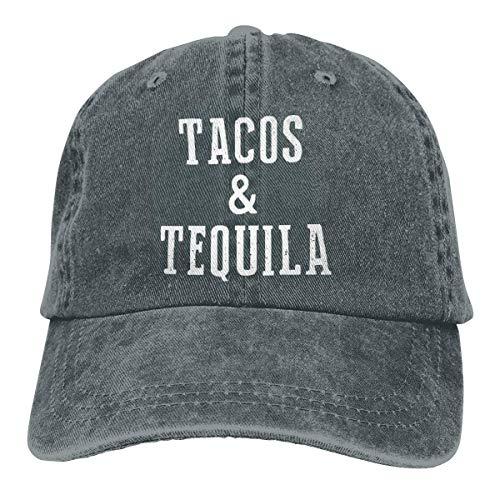 DLing Unisex Erwachsene Vintage gewaschen Baseballmütze einstellbare Papa Hut - Tacos Tequila schwarz