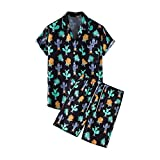SMEJS Kit de manga corta para hombre, camisa de botones de verano casual playa de dos piezas de nueva moda traje de hombre (Color : Black, Size : XXL code)