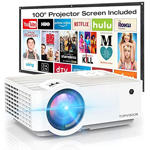 "Video Projector TOPVISION 4500L Portable Mini Projector with 100"" Projector Screen 1080P Supported Built in HIFI Speakers Compatible with Fire Stick HDMI VGA USB TF AV PS4"