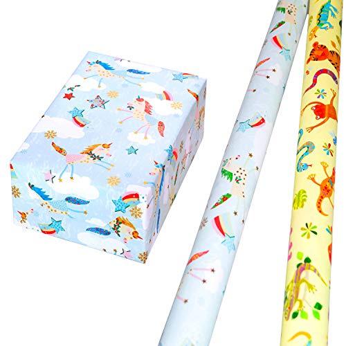 Geschenkpapier Set 2 Rollen (75 x 150 cm), bunte Tiere auf gelbem Mattfond, Einhörner mit goldenen Akzenten. Für Geburtstag, Kinder. Edel + hochwertig.