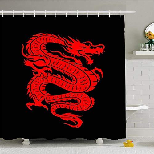 N/A Duschvorhang 182,9 x 182,9 cm rot Tattoo Drache on Fire Asiatisch Mythisches Glücksdesign wasserdichte Polyester Stoff Badezimmer Vorhänge Set mit Haken
