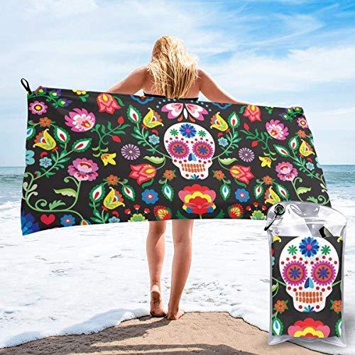 Beach Towels Sugar Skulls and Flowers Toalla ligera de secado rápido Super AbsorbenteToalla sin arena doblada para viajes, natación, gimnasio, yoga 140X70CM