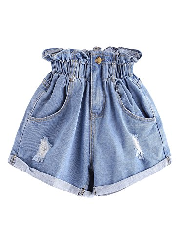 Milumia Women's Casual High Waisted Hemming Denim Jean Shorts with Pockets Blue Small