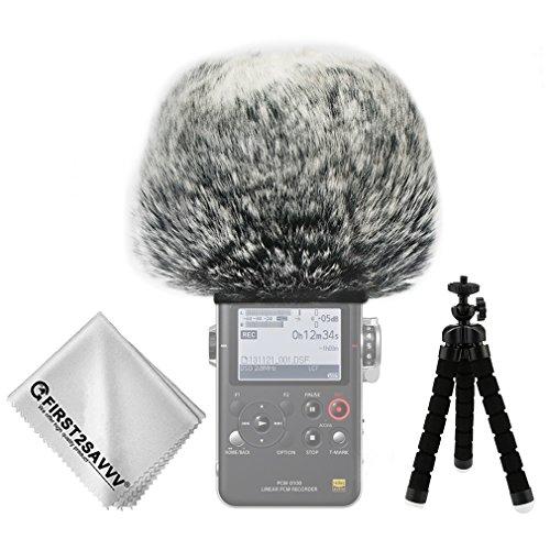 FIRST2SAVVV Negro Micrófono Externo Peludo Parabrisas Manguito para Grabadores Digitales para Sony PCM D100 + Paño de Limpieza + Mini trípode TM-DM-D100-G01TZ3