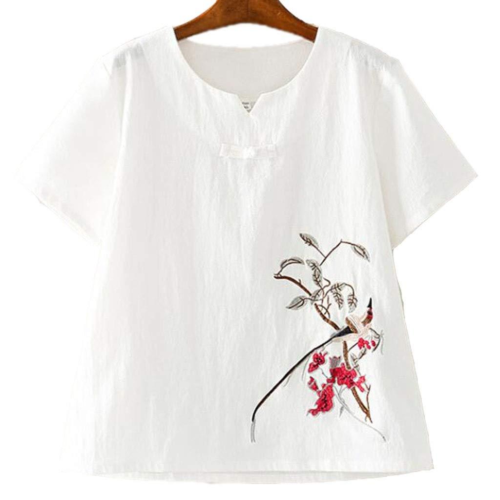 La camiseta de las mujeres, vintage estilo chino camiseta, camisa pequeña hebilla del V-cuello, mangas cortas sueltas casuales, ropa china que basa la camisa, blanco, rojo y azul se pueden seleccionar: Amazon.es: