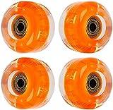 JQAM 4Pcs Light Up Skateboard Wheels,82A Quad Roller Skate Wheels with ABEC 9 Bearings for Street,Park 55x40 mm (Color : Orange)