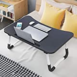 USA in Stock Foldable Laptop Bed Table, Portable Multifunction Laptop Lazy Desk Large Sofa Bed Tray Writing Eating Reading Stand Table with Cell Phone Holder (Black)