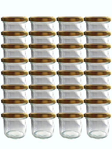 hocz Sturzgläser Set   Menge 50 Stück   Füllmenge 125 ml   inkl. Schraubdeckel Deckelfarbe   Marmeladengläser Einmachgläser Einweckgläser (Gold, 50 Stück)