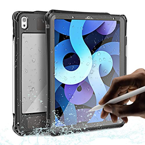 iPad Air 4th Gen Waterproof Case 2020 10.9 inch,AICase IP68 Underwater Protective Dustproof Shockproof Case Cover with 360 Full-Body Protection,iPad Air 4th Generation case with Lanyard and Kickstand
