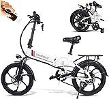 """Carsparadisezone Vélo Électrique 20"""" Pliant avec Batterie Amovible 48V 10,4AH vélo Ville E-Bike Adulte, Moteur 350W, Shimano 7 Vitesses Réglable 25 km/h pour Hommes Femme"""