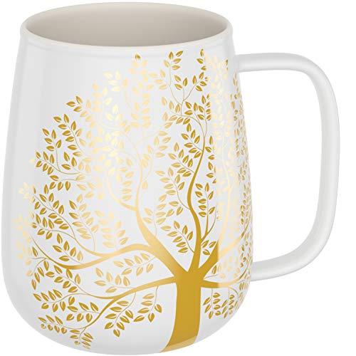 amapodo Kaffeetasse groß aus Porzellan mit Henkel 600ml große Kaffeetasse Weiß Geschenke für Frauen Männer