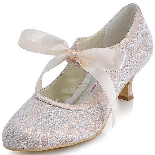Elegantpark A3039-2 Mujer Punta Cerrada Tacón Bajo Satén Zapatos de Vestir Baile Noche champán EU 36