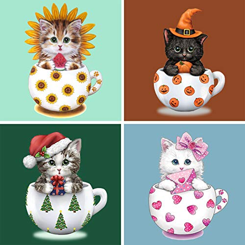 """SKRYUIE 4 Pack 5D Diamond Painting Halloween Christmas Gift Kittens Full Drill Paint with Diamond Art, DIY Cups Cats by Number Kits Wall Home Decor 12""""x12"""" (Sunflower Pumpkin Christmas Love)"""
