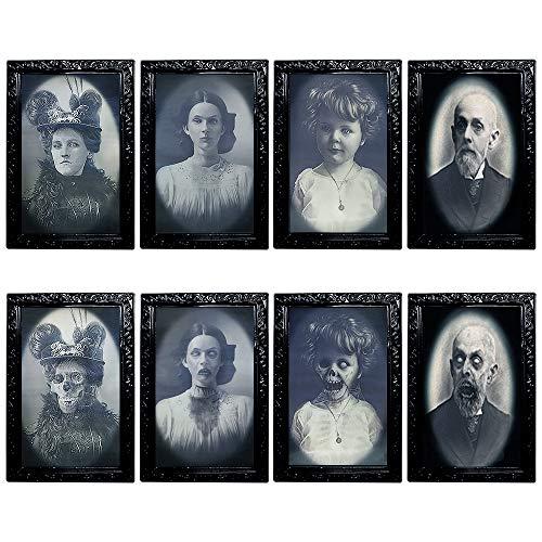 YBB 4 Stück Halloween bewegliche Bilderrahmen 3D wechselnde Gesicht Horror Portrait Gruselige Dekoration für Zuhause Halloween Party Schloss Spukhaus Dekor