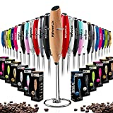 PowerLix Milk Frother Handheld Battery Operated Electric Foam Maker For Coffee, Latte, Cappuccino, Hot Chocolate, Durable Drink Mixer With Stainless Steel Whisk, Stainless Steel Stand Include (Wooden)