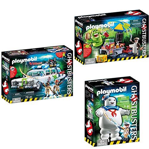 Playmobil Ghostbusters 9220 - Ghostbusters Ecto-1 + Ghostbusters 9222 - Slimer e il Carretto Degli Hot Dog + Ghostbusters 9221 - Omino Marshmallow e Stantz