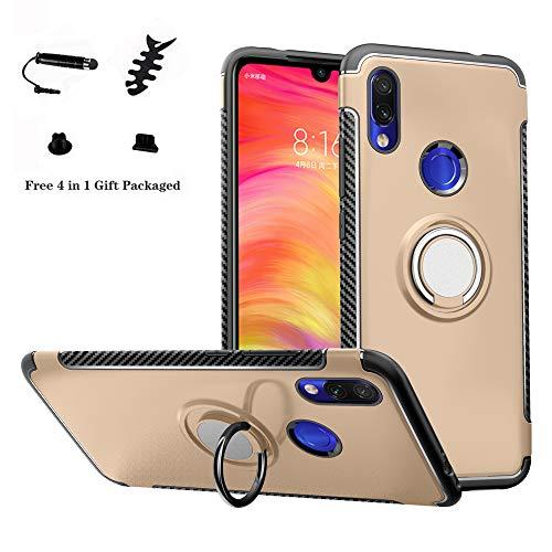 LFDZ Funda xiaomi redmi 7, 360 Grados Giratorio Ring Grip con Gel TPU Case Carcasa Fundas para xiaomi redmi 7 Smartphone(Not fit Huawei p20 Lite 2018),Gold