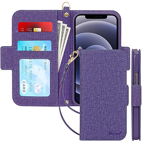 Skycase Compatible for iPhone 12 Mini Case 5G,[RFID Blocking] Handmade Flip Folio Wallet Case with Card Slots and Detachable Hand Strap for iPhone 12 Mini 5.4 inch 2020,Purple