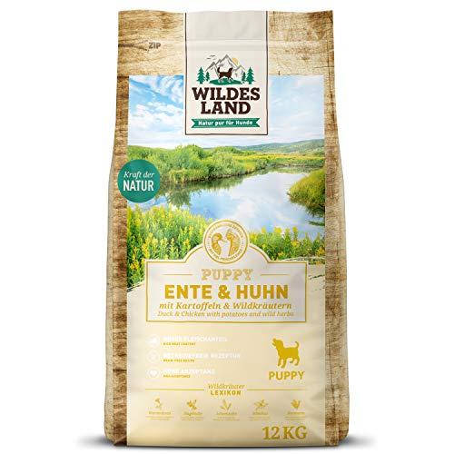 Wildes Land - Nr. 8 Puppy Ente & Huhn - 12 kg - mit Kartoffeln und Wildkräutern - Glutenfrei - Trockenfutter für Hunde - Hundefutter mit hohem Fleischanteil - Hohe Verträglichkeit