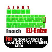 """フレンチレイアウトEUキーボードカバーfor MacBookタッチバー用13""""15"""" A1990 A1989 A1707 A1706AZERTラップトップキーボード保護フィルム -Green"""