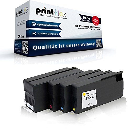 Print-Klex 4x compatibele inktpatronen voor HP OfficeJet6100e-Printer OfficeJet6600e-All-in-One OfficeJet6700Premium OfficeJet7110wideformaat HP932bk HP 932bk HP933c HP 933c HP933m HP 933m HP933y HP 933y HP 933y - voordeelset