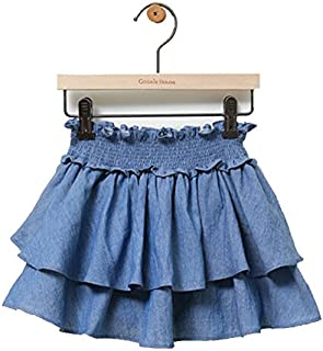 子供服KITOHOUSE(キトハウス) フリルデニムスカッツ 1分丈 スカート 女の子 (14-3-a)