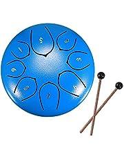 6-10 Inch Stalen Tong Drum Handpan Drum, Laiashley Metalen Hand Drum Kit Percussie Staal Drum Instrument met Mallets, Mallet Beugel, Tonic Sticker en Muziekboek