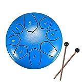 Laiashley - Tamburo per lingua, in acciaio, 6-10 cm, tamburo a mano in metallo, strumento a percussione in acciaio con mazzetti, staffa a martello, adesivo tonico e libro musicale