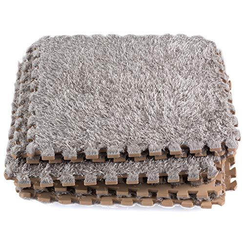 Dooboe Interlocking Foam Mats - Interlocking Carpet Tiles - Plush Carpet Area Rug - Carpet Interlocking Floor Tiles - Gray - Non-Toxic, Anti-Fatigue, Premium Puzzle Floor Mat
