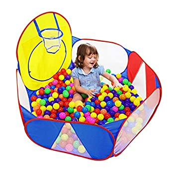 Eocolz Kids Ball Pit Large Pop UpChildrens Ball PitsTentfor ToddlersPlayhouseBaby CrawlPlaypen with Basketball Hoop and Zipper Storage Bag 4 Ft/120CM Balls Not Included