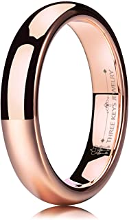 THREE KEYS JEWELRY 2mm 4mm 6mm 8mm Tungsten Wedding Ring for Women Plated Rose Gold Engagement Band Ring