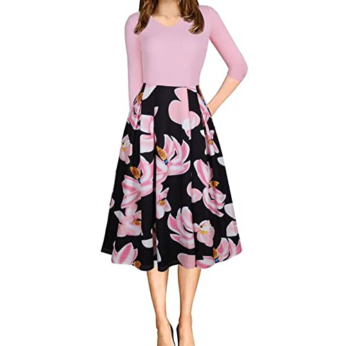 Women s Floral Vintage Patchwork Pockets Puffy Swing Casual Party Dress b9ab235922e5