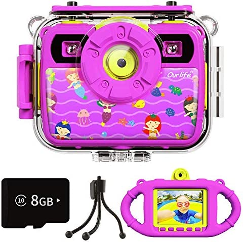 Ourlife Kids Waterproof Camera Gifts for Girls 1080P 8MP HD Digital Video Camera with 2 4 Inch product image