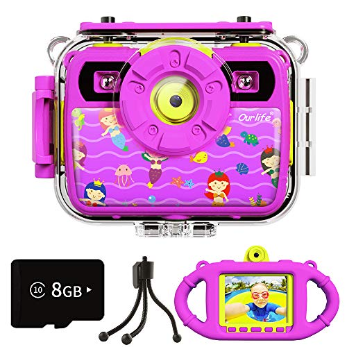 Ourlife Kids Waterproof Camera Gifts for Girls, 1080P 8MP HD Digital Video Camera with 2.4 Inch IPS Screen Dual Fill Lights, Children Selfie Camera Toy for Girls 6-15 with 8GB TF Card, Silicone Handle