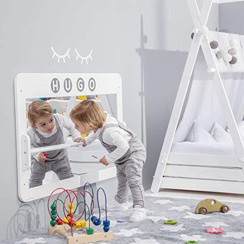ALONDRA – Espejo infantil de seguridad con barra, método MONTESSORI, FACE Blanco NE122-M77, barra 3 alturas y 2 etapas: horizontal (bebé) y vertical (junior) barnices no tóxicos.
