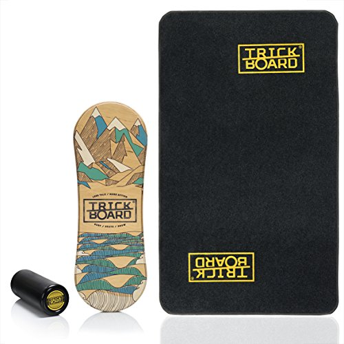 Trickboard Balance Board - Set Less Talk - All Season SURF/Skate/Snow + Roller + Teppich - Balance Training