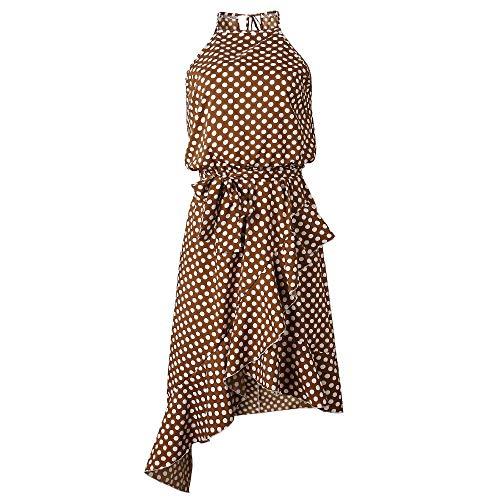 NOBRAND Vestido irregular de verano con lunares y cordones para mujer